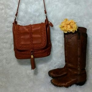 Brown faux leather purse